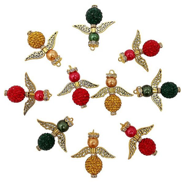 Christmas (Red, Green, Gold) Range Pave Angel Kit, 10 Angels 32x31mm